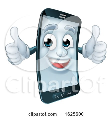 Mobile Cell Phone Mascot Cartoon Character by AtStockIllustration
