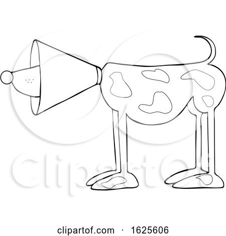 Cartoon Lineart Dog Wearing a Cone by djart