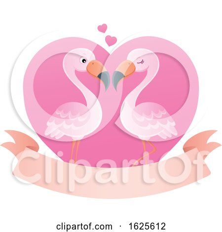 Pink Flamingo Couple over a Valentine Heart and Banner by visekart