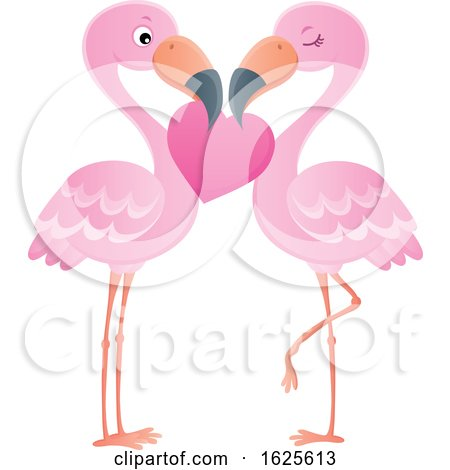 Pink Flamingo Couple with a Valentine Heart by visekart