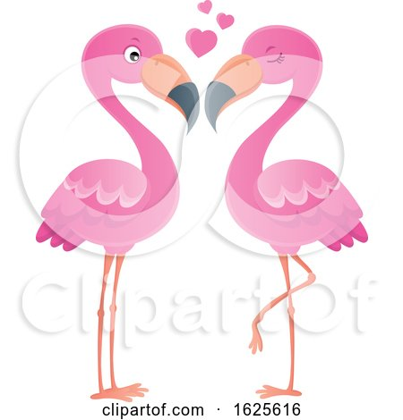 Pink Flamingo Couple with Love Hearts by visekart