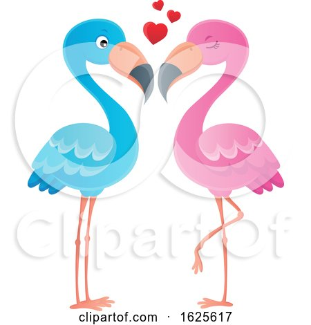 Pink and Blue Flamingo Couple with Love Hearts by visekart