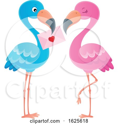 Pink and Blue Flamingo Couple with a Valentine Letter by visekart