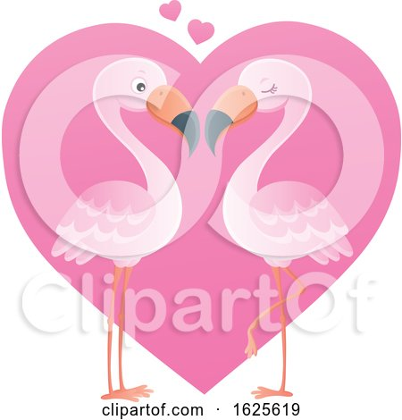 Pink Flamingo Couple over a Valentine Heart by visekart