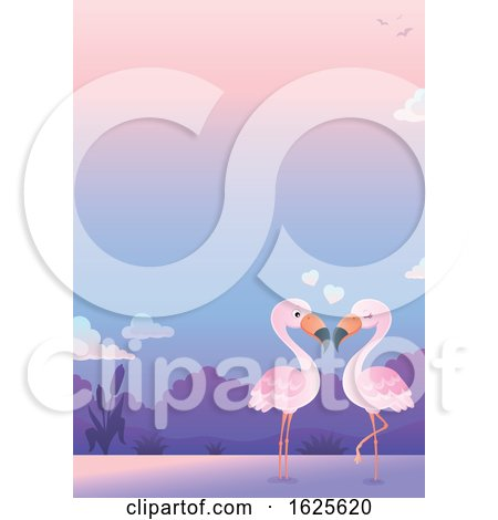 Pink Flamingo Couple Wading at Sunset by visekart