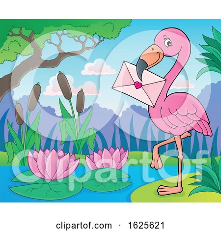 Pink Flamingo with a Valentine Envelope by visekart