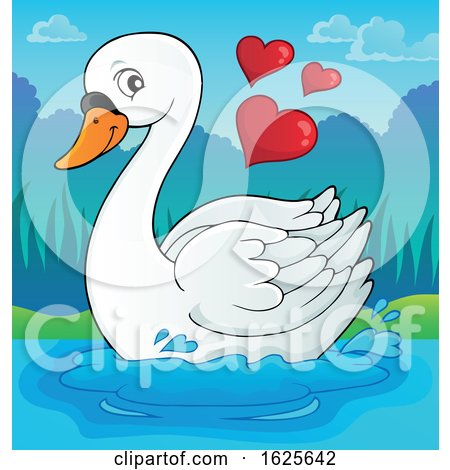 Swimming Valentine Swan with Hearts by visekart