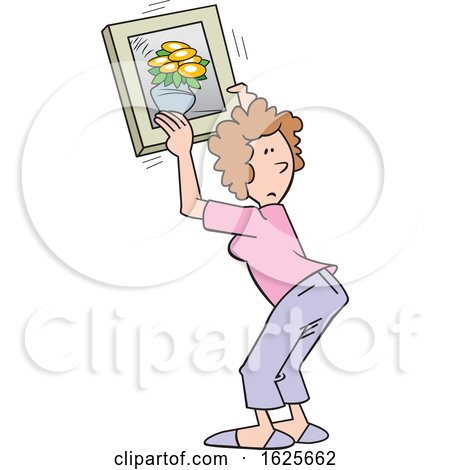 Cartoon White Woman Hanging a Flower Picture by Johnny Sajem