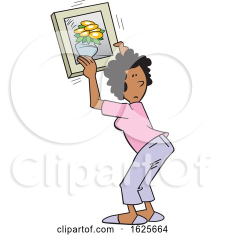Cartoon Black Woman Hanging a Flower Picture by Johnny Sajem