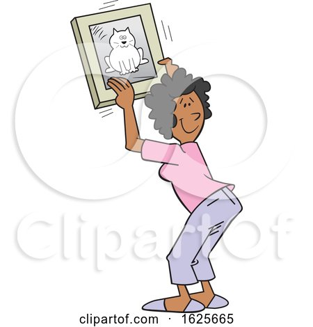 Cartoon Black Woman Hanging a Cat Picture by Johnny Sajem