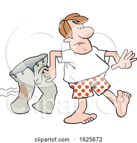 Cartoon White Man in Boxers Carrying His Iron Burnt Pants by Johnny Sajem