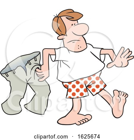 Cartoon White Man in Boxers Carrying His Pants by Johnny Sajem