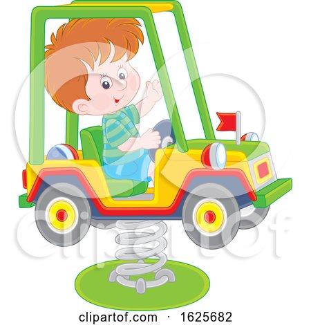 White Boy on a Horse Jeep Rider Playground Toy by Alex Bannykh
