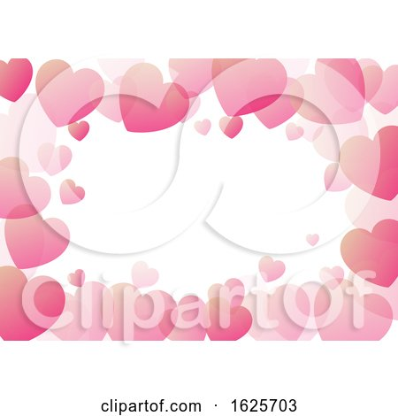 Valentine's Day Background with Hearts Border by KJ Pargeter