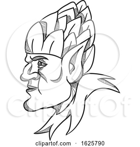 Elf Wearing Hops on Head Drawing Black and White by patrimonio