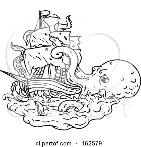 Kraken Attacking Sailing Ship Doodle Art by patrimonio