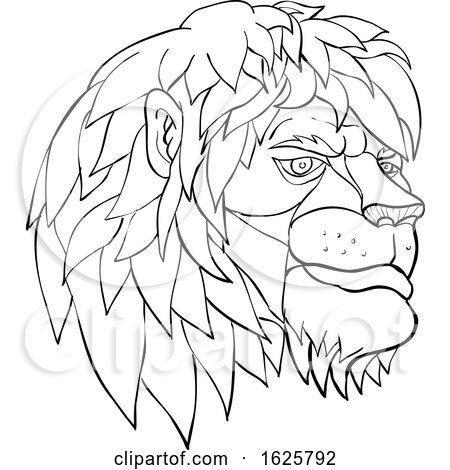 Pensive Lion Head Cartoon Black and White by patrimonio