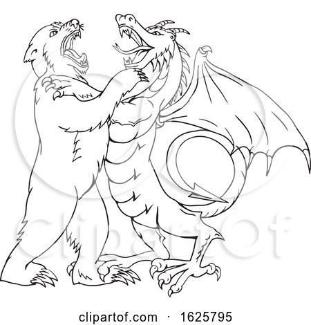 Bear Fighting Chinese Dragon Drawing Black and White by patrimonio