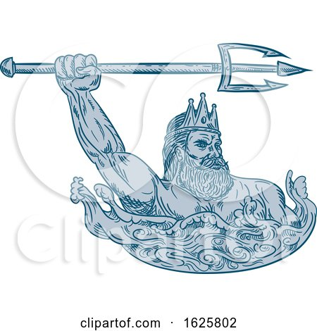 Poseidon Wielding Trident Drawing Posters, Art Prints
