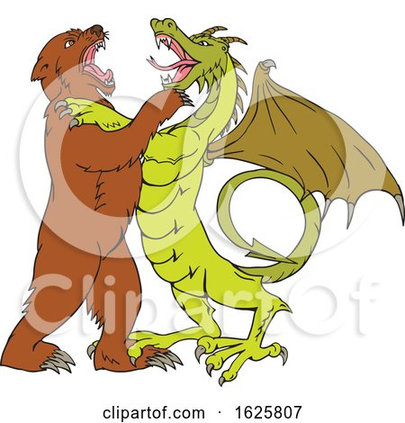 Chinese Dragon Fighting Grizzly Bear Drawing Color by patrimonio