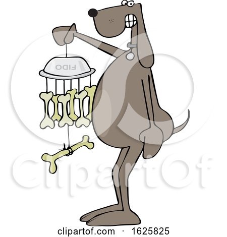 Cartoon Dog Holding a Bone Wind Chime by djart