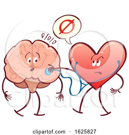 Heart Checking a Brain with a Stethoscope Posters, Art Prints