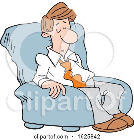 Cartoon Sleepy White Business Man in a Chair by Johnny Sajem