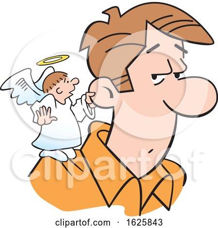 Cartoon Angel on a White Mans Shoulder by Johnny Sajem