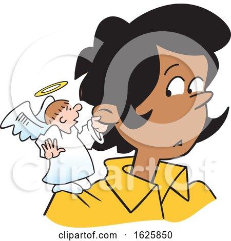 Cartoon Angel on a Black Womans Shoulder by Johnny Sajem