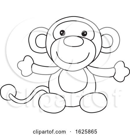 Black and White Monkey Toy by Alex Bannykh