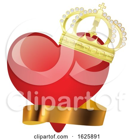 Red Valentines Day Heart with a Gold Crown and Ribbon Posters, Art Prints