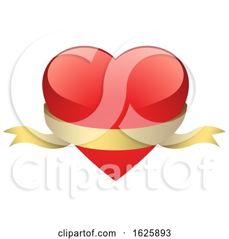 Red Valentines Day Heart with a Gold Banner Posters, Art Prints