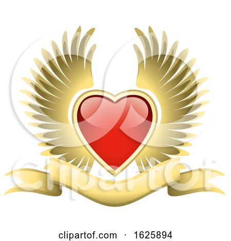 Red Winged Valentines Day Heart and Gold Banner Posters, Art Prints