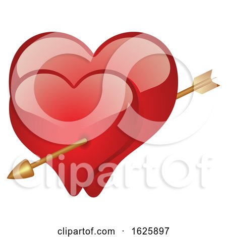 Red Valentines Day Hearts with Cupids Arrow by dero