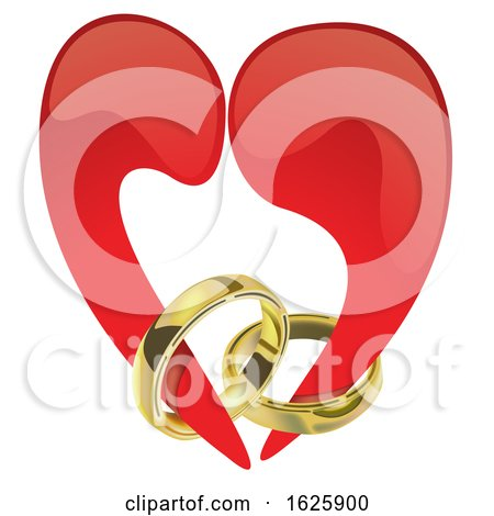 Red Valentines Day Heart with Engagement Rings by dero