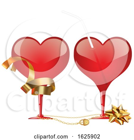 Red Valentines Day Heart Glasses with Ribbon a Bow and Straw by dero