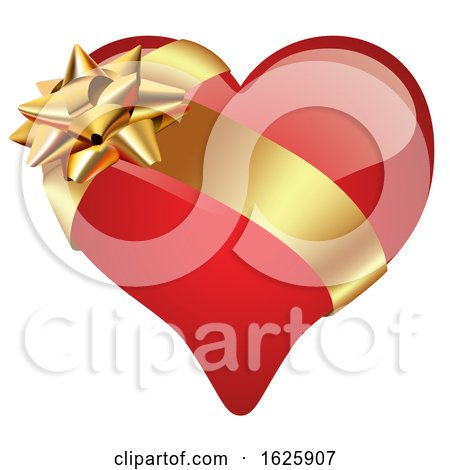 Red Valentines Day Heart with Gold Ribbon Posters, Art Prints