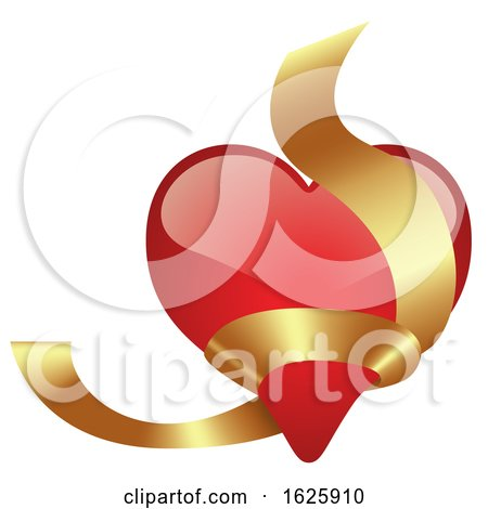 Red Valentines Day Heart with Gold Ribbon by dero