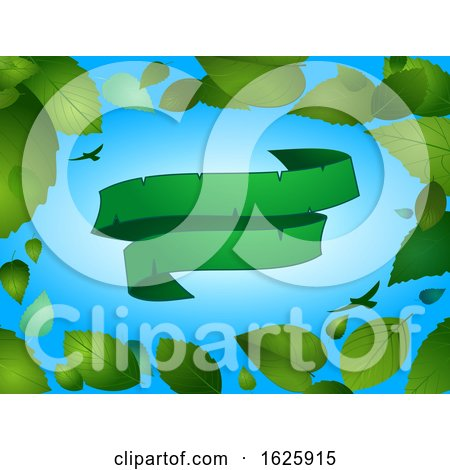 Spring Background with Blank Green Banner Leaves by elaineitalia