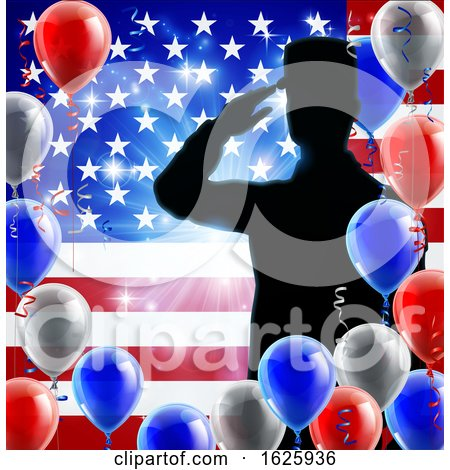 Saluting Soldier American Flag Balloon Background Posters, Art Prints