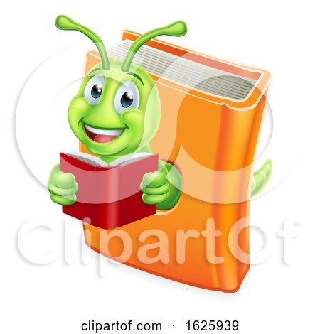 Bookworm Caterpillar Worm in Book Reading by AtStockIllustration