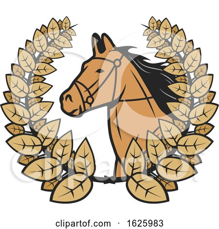 Horse in a Wreath by Vector Tradition SM