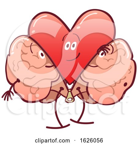 Cartoon Heart Character Shedding a Brain Costume Posters, Art Prints