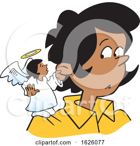 Cartoon Female Angel on a Black Womans Shoulder by Johnny Sajem