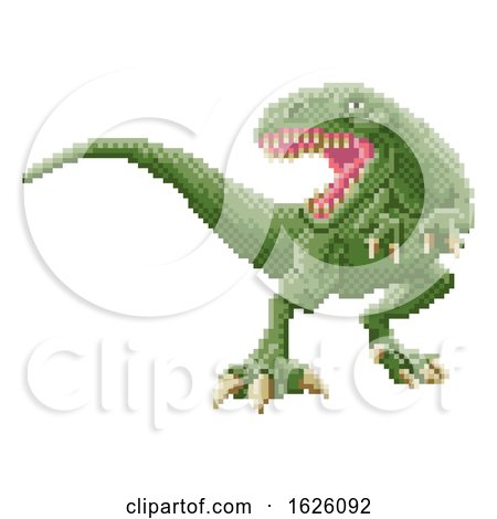 Dinosaur Trex 8 Bit Pixel Art Arcade Game Cartoon by AtStockIllustration