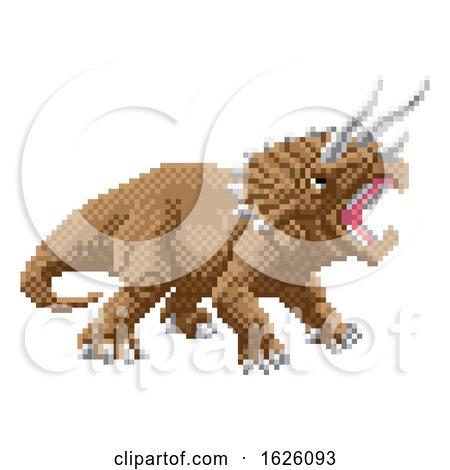Dinosaur Triceratops Pixel Art Arcade Game Cartoon by AtStockIllustration