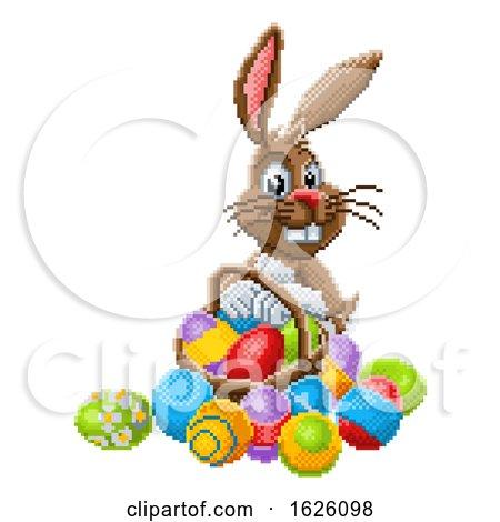 Easter Bunny Pixel Art 8 Bit Game Cartoon by AtStockIllustration