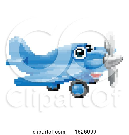 Airplane 8 Bit Pixel Game Art Cartoon Character by AtStockIllustration