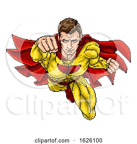 Superhero Pixel Art Arcade Game Cartoon Character by AtStockIllustration