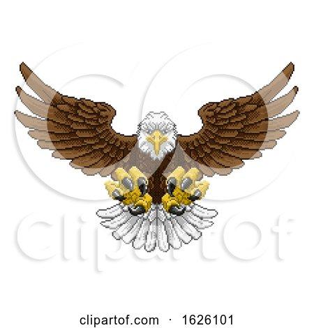 Eagle Pixel Art Arcade Game Cartoon Mascot by AtStockIllustration